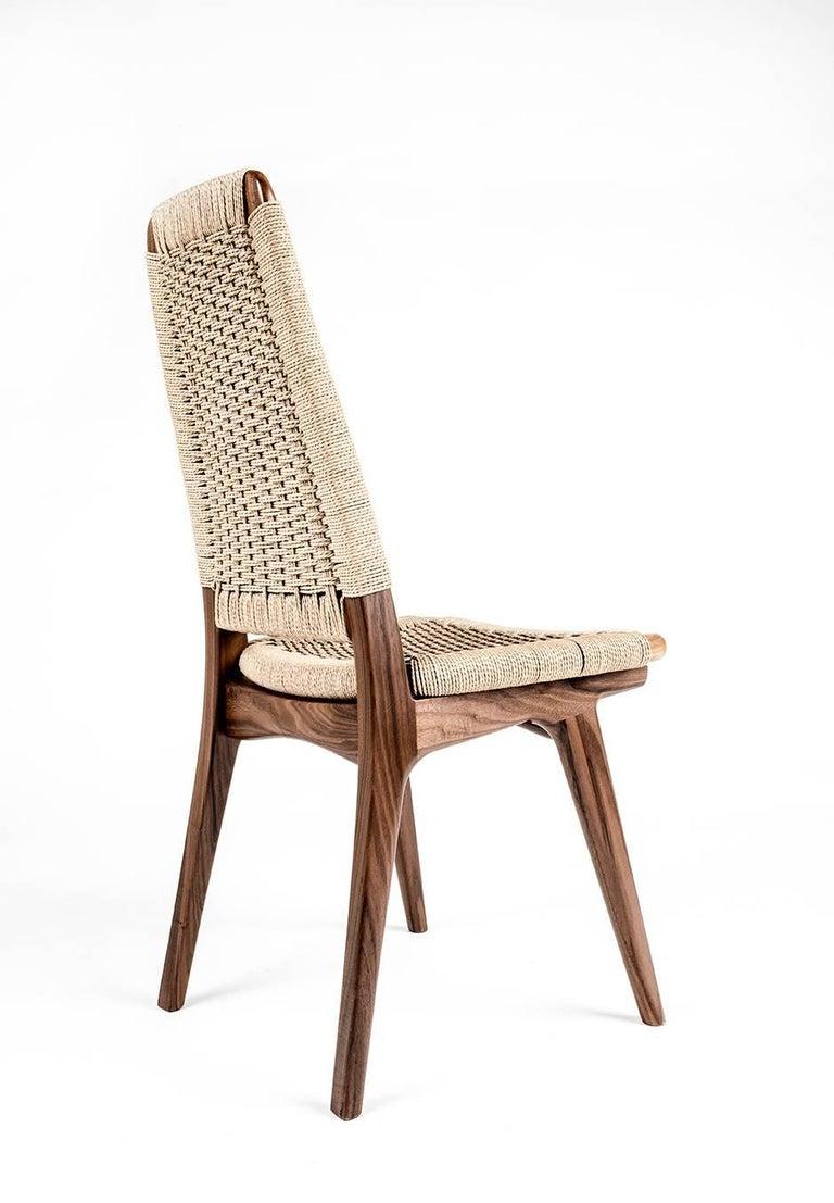 Contemporary Chair, Woven Danish Cord, Walnut, Hardwood, Mid Century, Dining, Office,Semigood For Sale