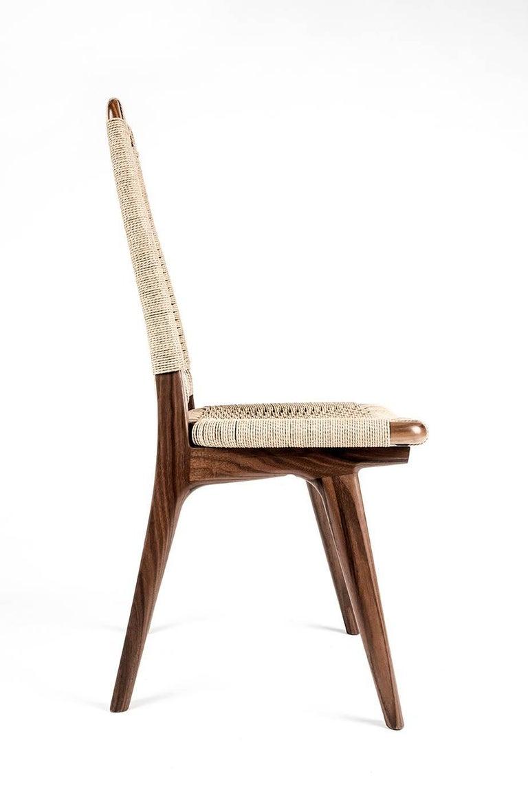 Chair, Woven Danish Cord, Walnut, Hardwood, Mid Century, Dining, Office,Semigood For Sale 1