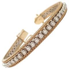 Woven Diamond Bracelet in 14 Karat Two-Tone Gold