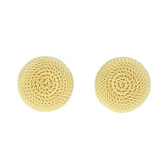 Woven Dome Knot Stud Earrings Set in 18k Yellow Gold