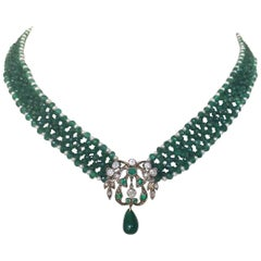 Marina J Woven Emerald and Pearl Necklace with  Unique Antique Centerpiece