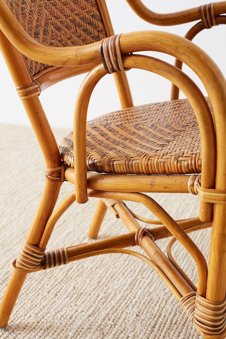 Woven French Bistro Style Rattan Dining Chairs For Sale 2