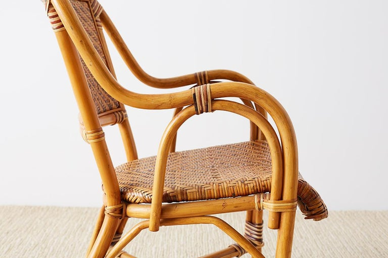 Woven French Bistro Style Rattan Dining Chairs For Sale 3