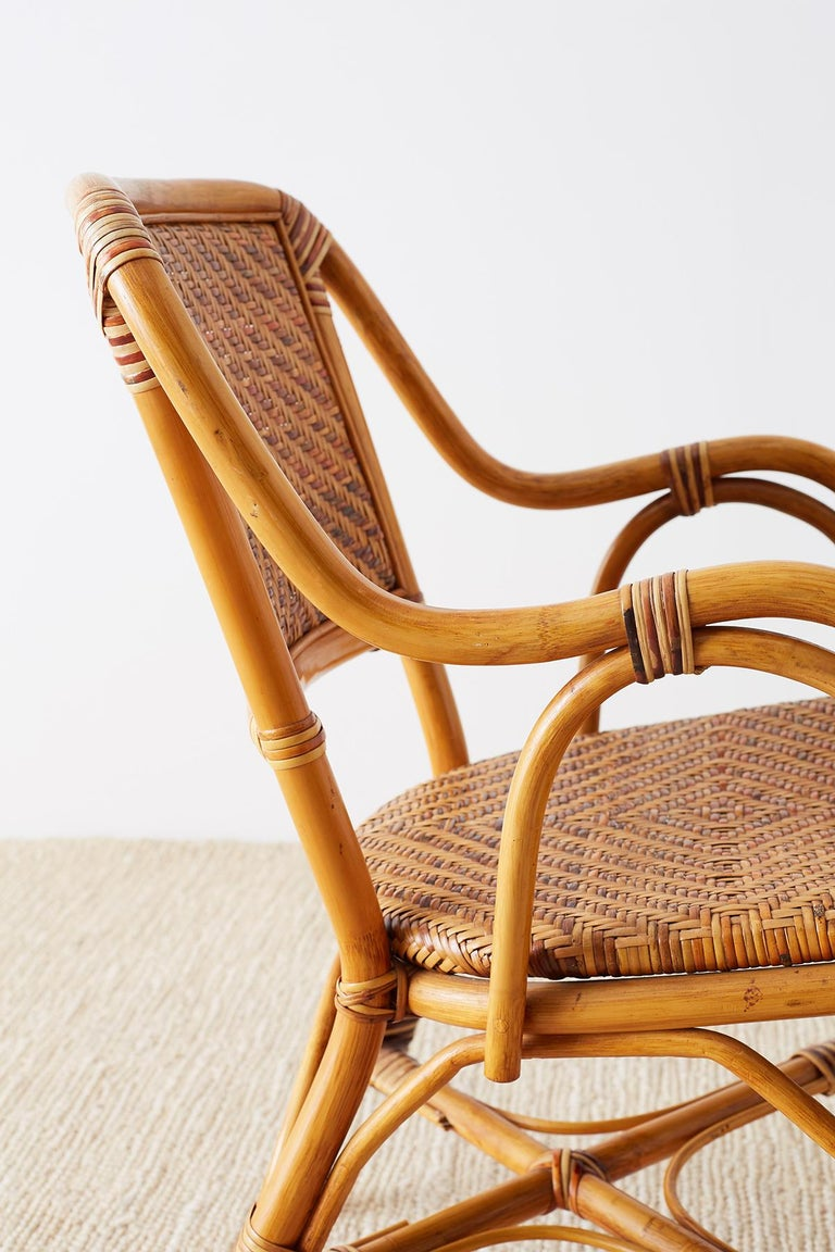 Woven French Bistro Style Rattan Dining Chairs For Sale 5