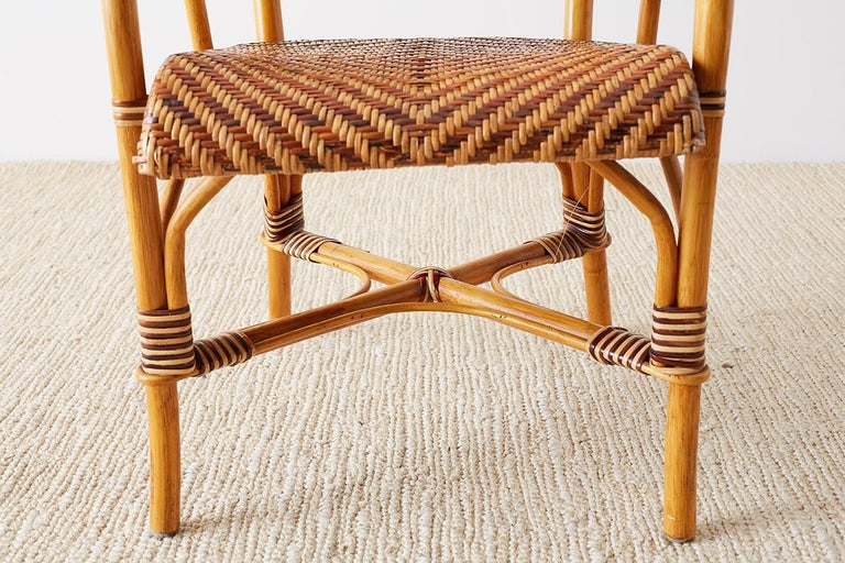 Woven French Bistro Style Rattan Dining Chairs For Sale 11