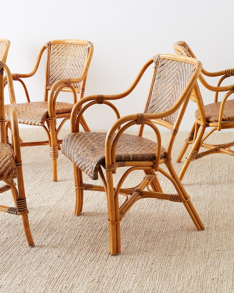 Organic Modern Woven French Bistro Style Rattan Dining Chairs For Sale