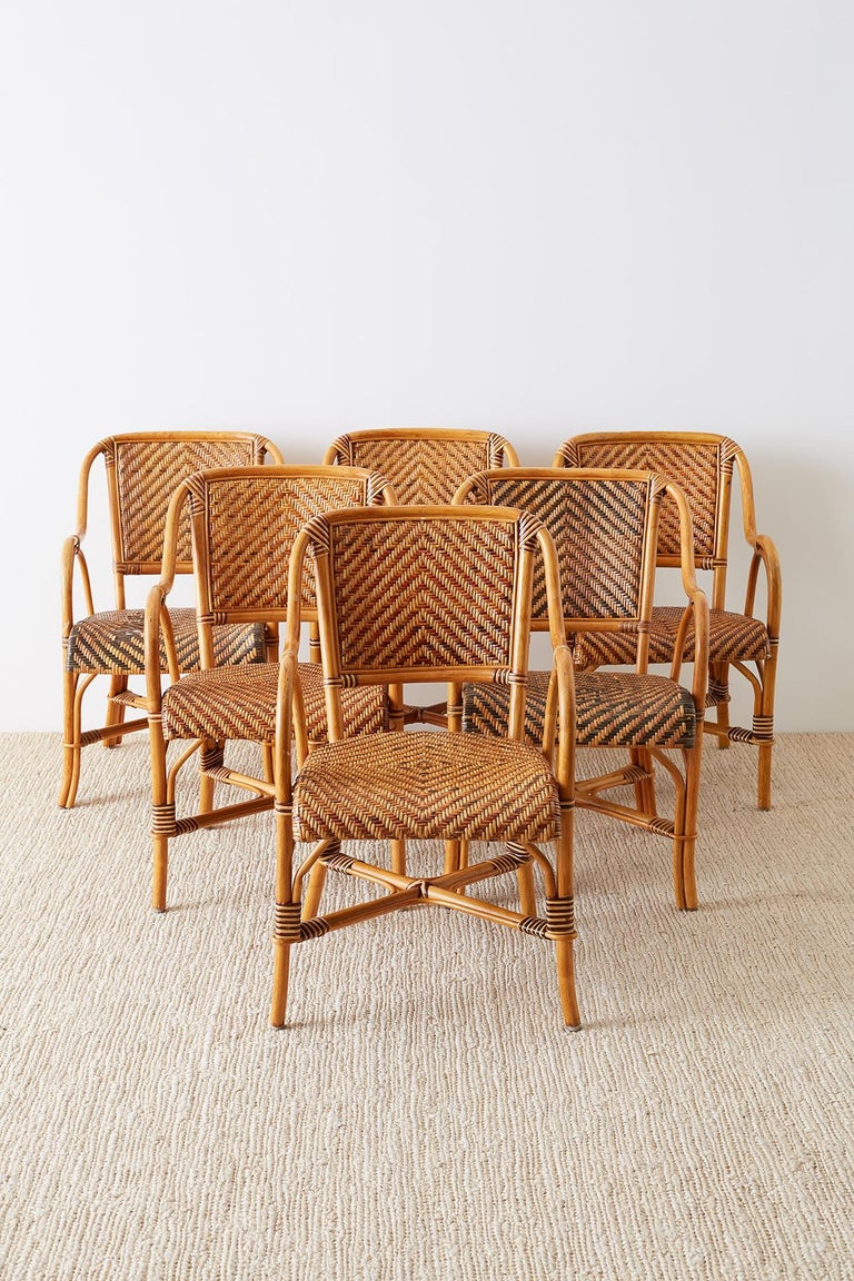 European Woven French Bistro Style Rattan Dining Chairs For Sale