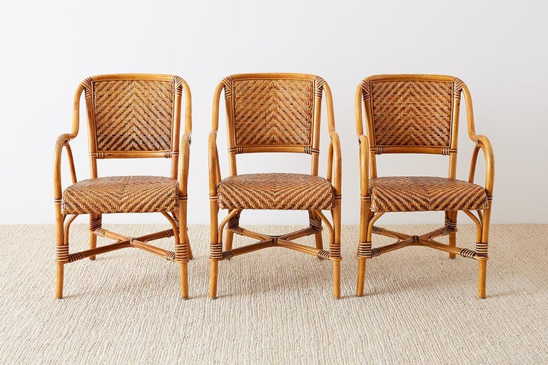 Hand-Crafted Woven French Bistro Style Rattan Dining Chairs For Sale