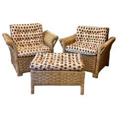 Woven French Chair Set and Ottoman Upholstered in Turkish Textile, France, 1950s