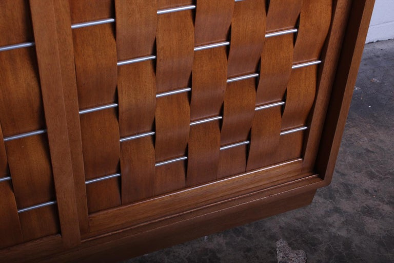 Mid-20th Century Woven Front Cabinet by Edward Wormley for Dunbar For Sale