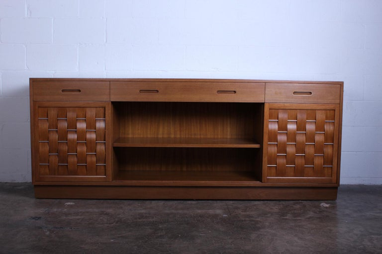 Mahogany Woven Front Cabinet by Edward Wormley for Dunbar For Sale