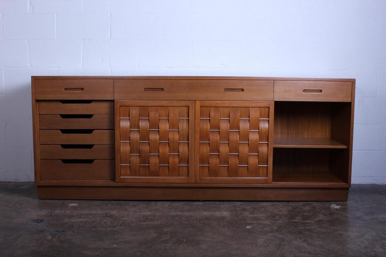 Woven Front Cabinet by Edward Wormley for Dunbar For Sale 1