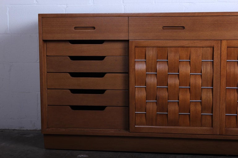 Woven Front Cabinet by Edward Wormley for Dunbar For Sale 2
