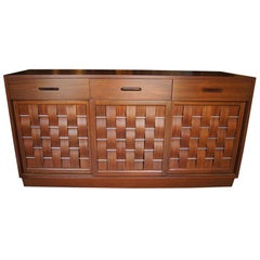 Woven-Front Mahogany Sideboard by Edward Wormley for Dunbar