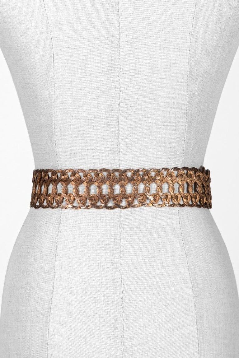 Brown Woven Silvery Gold Tone Metal Thread Buckle and Belt c. 1970s For Sale