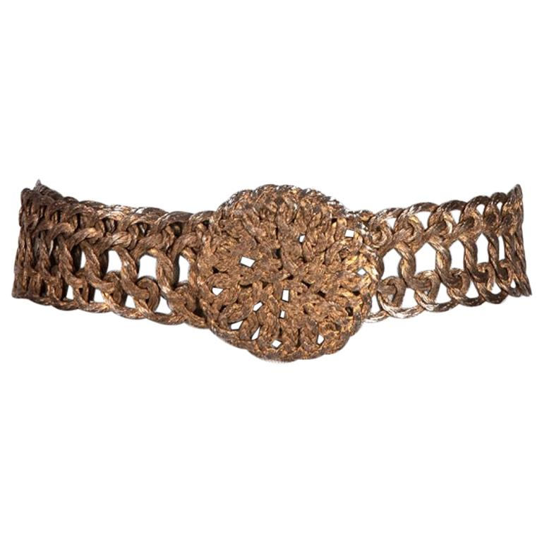 Woven Silvery Gold Tone Metal Thread Buckle and Belt c. 1970s For Sale