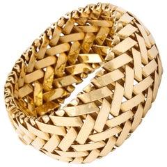 Woven Gold Wide Bangle Bracelet