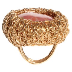 Orange Pink Coloured Agate Cocktail Statement Ring by Sheila Westera in Stock