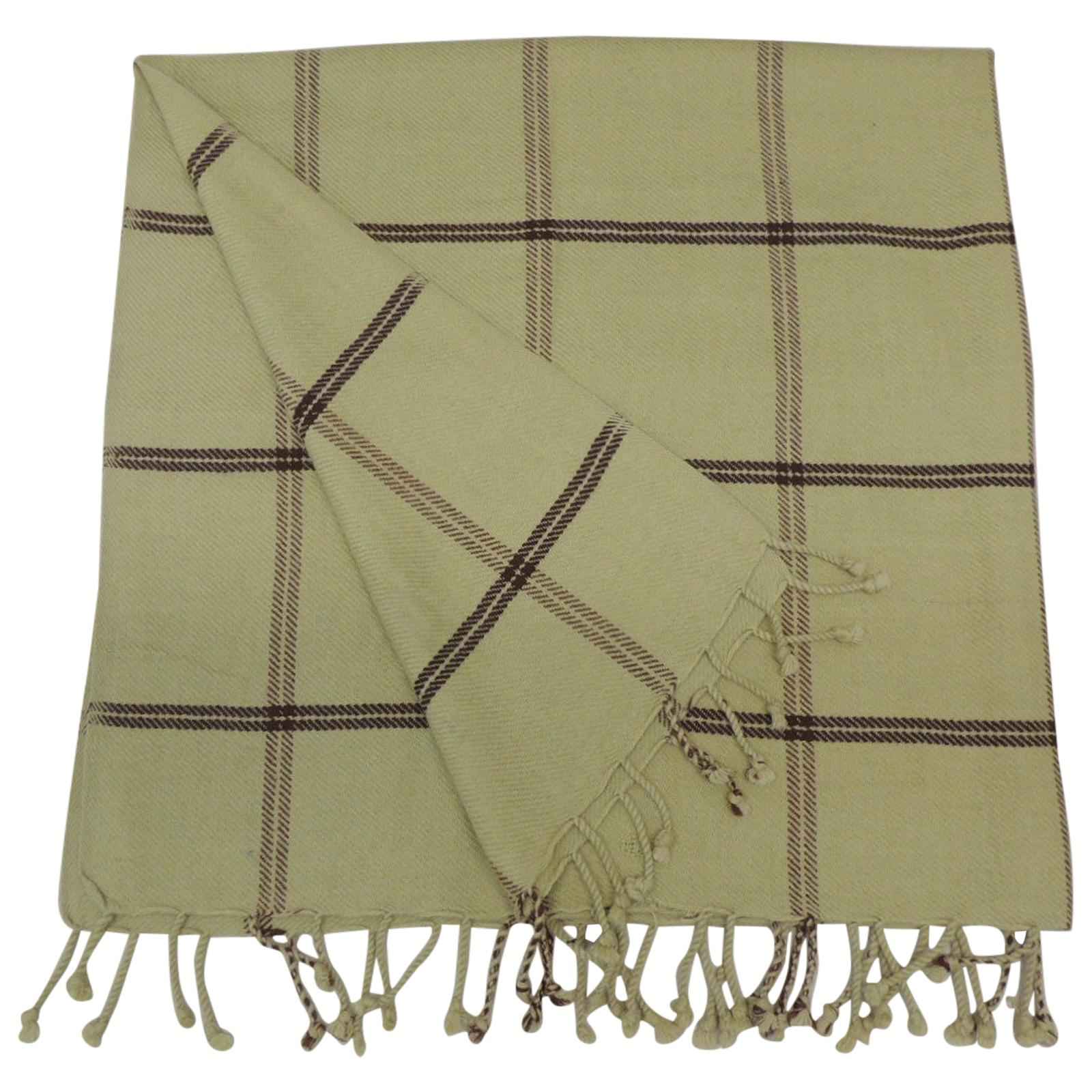 Woven Green and Brown Himalayan Cashmere Throw with Hand Knotted Fringes