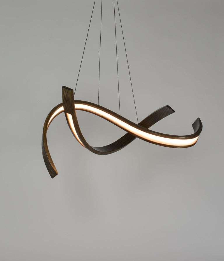 Woven, Hanging Multi-Element Freeform Wooden Pendant Light For Sale 1