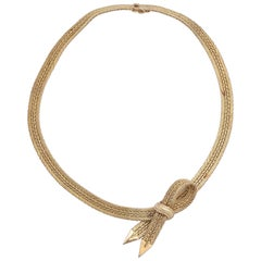Woven Herringbone Necklace with Centre Bow