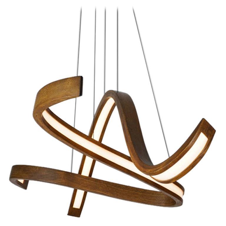 Woven ii, Hanging Multi-Element Freeform Wooden Pendant Light For Sale