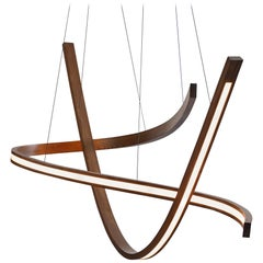 Woven III, Hanging Multi-Element Freeform Wooden Pendant Light