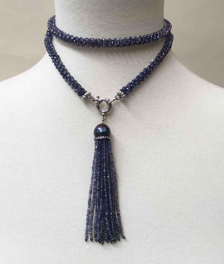 Artisan Woven Iolite Sautoir and Tassel with a Black Pearl and Silver and Gold Clasp For Sale