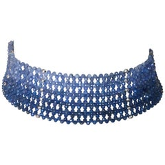 Woven Kyanite Beaded Choker with Sterling Silver Beads and Clasp