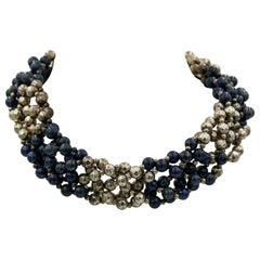 Woven Lapis Lazuli and Hammered Sterling Silver Bead Choker Necklace