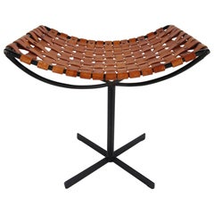 Woven Leather and Iron Stool by Max Gottschalk
