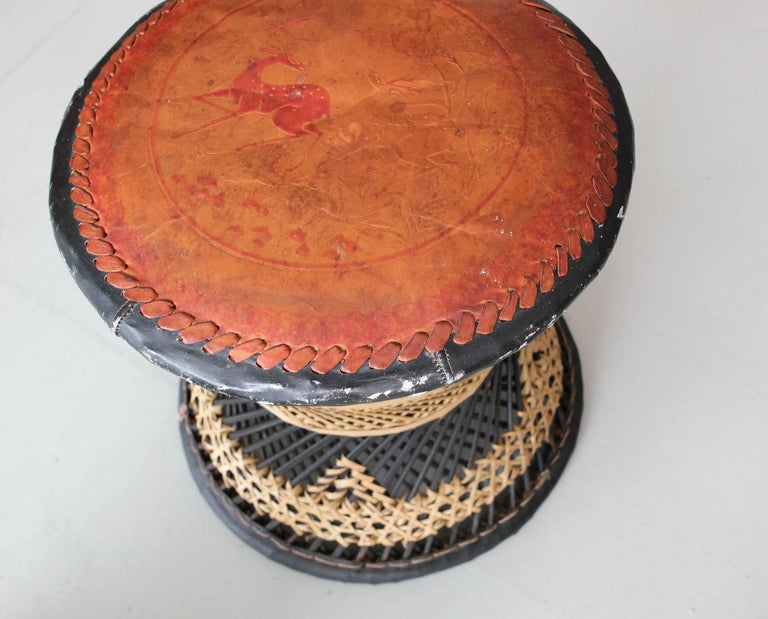 Woven Leather and Wicker Stools For Sale 5