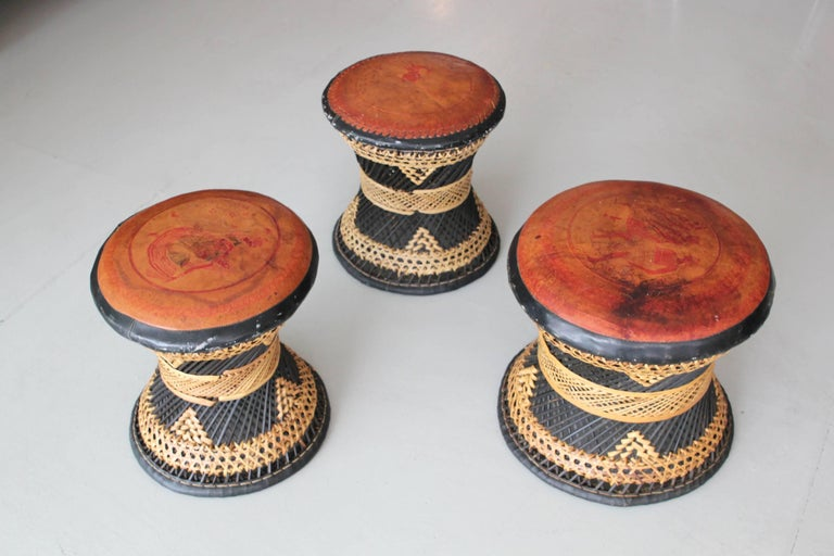 Woven Leather and Wicker Stools For Sale 4