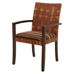 Woven Leather Back Dining Chair with Moroccan Rug Seat