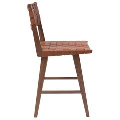 Woven Leather Backed Bar Stool in Walnut and Tan Leather by Mel Smilow
