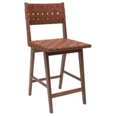 Woven Leather Backed Counter Stool in Walnut and Tan Leather by Mel Smilow