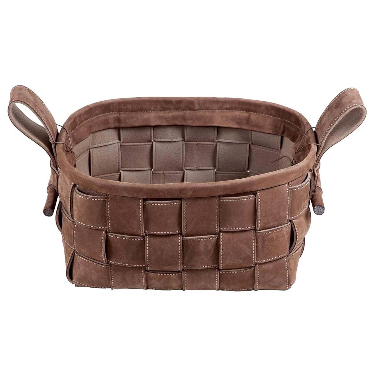 Woven Leather Basket Brown