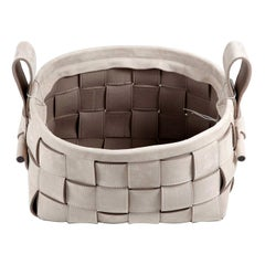 Woven Leather Basket Gray