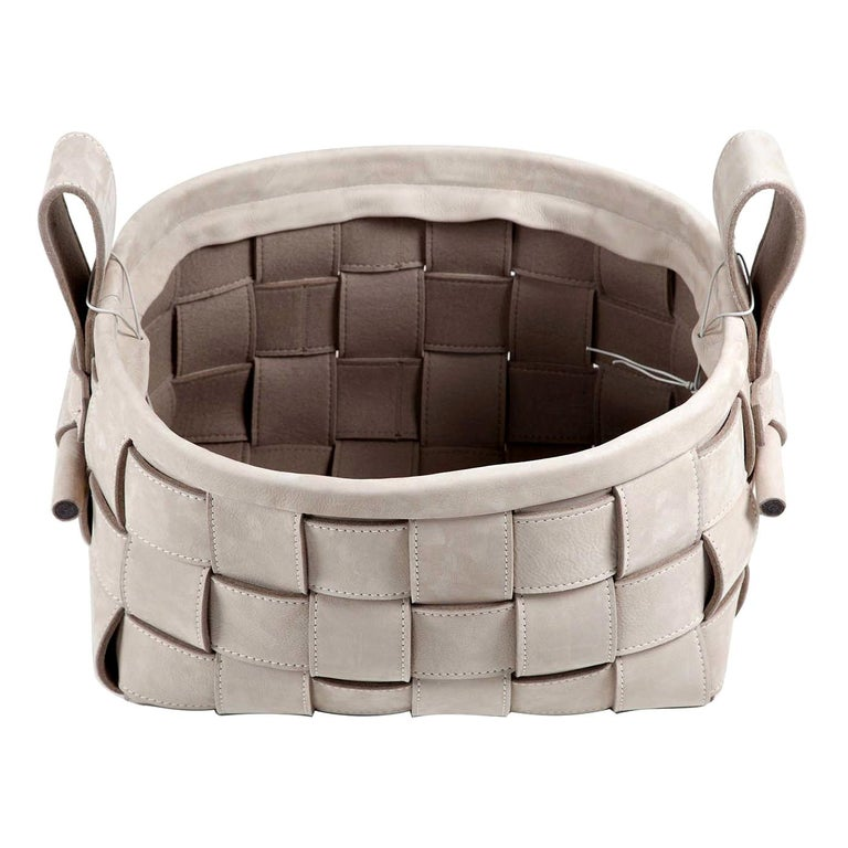Woven Leather Basket Gray For Sale