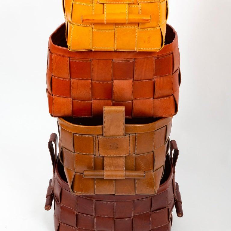 Modern Woven Leather Basket Mustard Yellow For Sale