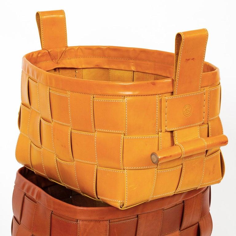 Italian Woven Leather Basket Mustard Yellow For Sale