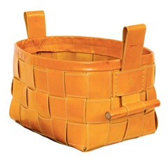 Woven Leather Basket Mustard Yellow