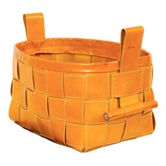 Woven Leather Basket Mustard Yellow