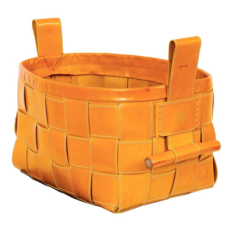 Woven Leather Basket Mustard Yellow For Sale