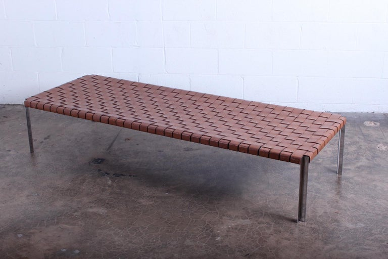 Woven Leather Bench by Estelle and Erwine Laverne In Good Condition For Sale In Dallas, TX
