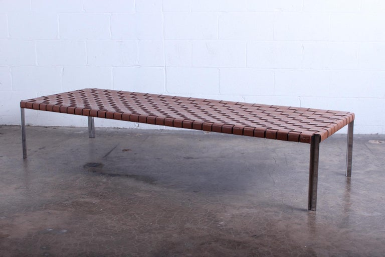 Mid-20th Century Woven Leather Bench by Estelle and Erwine Laverne For Sale