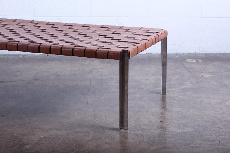 Woven Leather Bench by Estelle and Erwine Laverne For Sale 1