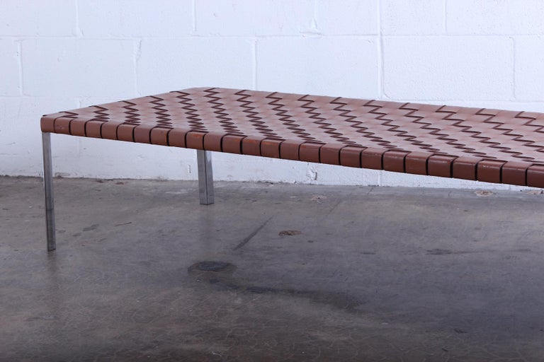 Woven Leather Bench by Estelle and Erwine Laverne For Sale 2