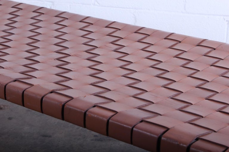 Woven Leather Bench by Estelle and Erwine Laverne For Sale 4