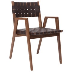 Woven Leather Dining Armchair in Brown by Mel Smilow